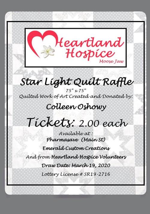 Star Light Quilt Raffle Fundraiser for Heartland Hospice Moose Jaw